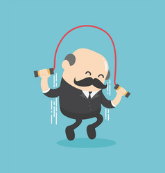 elderly businessman who is jumping rope vector image