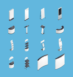Exhibition stands isometric icons set vector