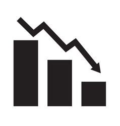 Falling chart icon on white background flat vector