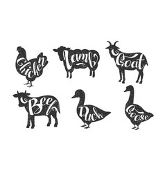 Farm animals silhouettes retro labels set beef vector