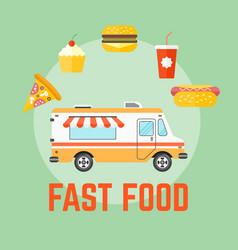 Fast food truck flat design vector