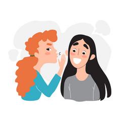 Female friendship gossip and secrets - portrait vector