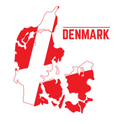 Flag and map of denmark vector