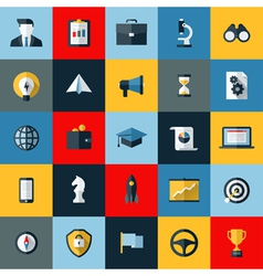 Flat design icons set of SEO and social media vector image