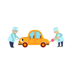 flat doctor and humanized car scene vector image