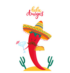 Funny chili pepper in sombrero holds a cocktail vector