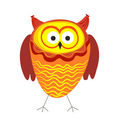 Funny owl with big eyes and bright plumage vector
