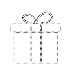 gift box sign black dotted icon on white vector image