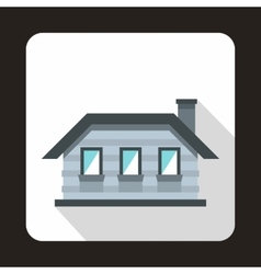 Gray cottage icon in flat style vector