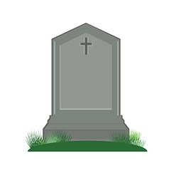 Grey gravestone with cross vector image