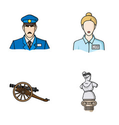 guard guide statue gun museum set collection vector image
