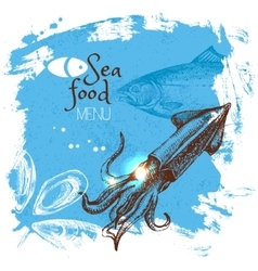 Hand drawn sketch seafood Sea vector image