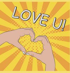 hands in heart shape gesture - love you vector image