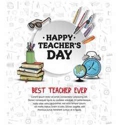 Happy teacher day with circle and school vector