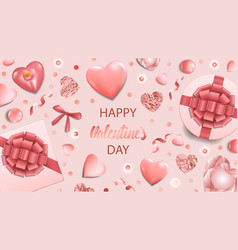 happy valentines day pink greeting web banner vector image