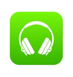 headphone icon digital green vector image