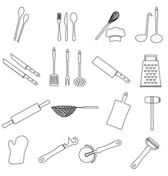 home kitchen cooking utensils outline icon eps10 vector image
