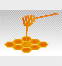 Honey dipper stick with honeycomb for apps vector