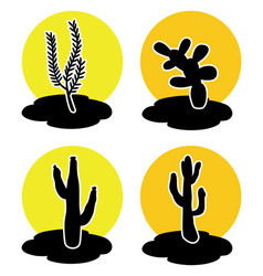 icons cactus in desert vector image