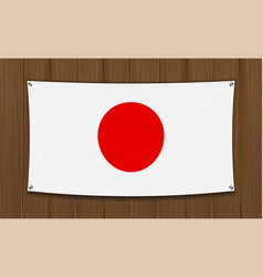 japan flag on a dark wood wall background vector image