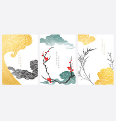 Japanese wave pattern with art landscape banner vector