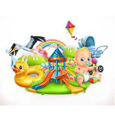 kids and toys children playground 3d vector image