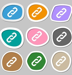 Link icon symbols Multicolored paper stickers vector