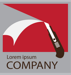 logo cutter knife vector image
