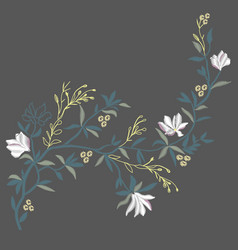 Magnolia embroidery vector