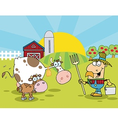 Male Farmer Tending To His Cattle On His Farm vector image