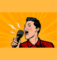 man screaming loudly into microphone retro comic vector image