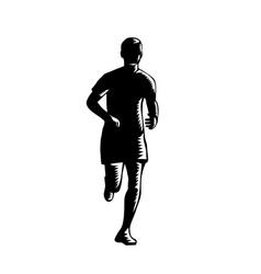 marathon runner silhouette running front view vector image
