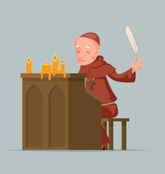 Monk write chronicles historical events writer vector