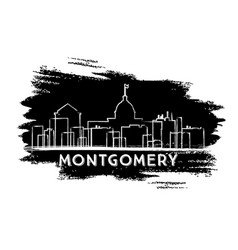 montgomery skyline silhouette hand drawn sketch vector image
