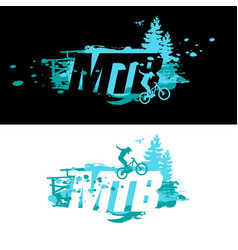 Mtb logo badge and label dowhill freeride t vector