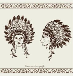 Native american head vector