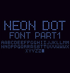 Neon dot font in blue part 1 vector