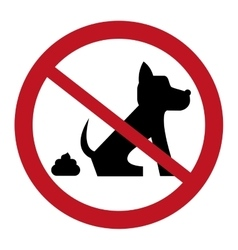 No dog pooping sign icon vector