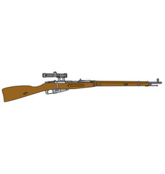 Old military rifle with optical sight vector