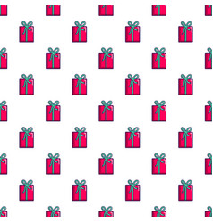 Pink gift box pattern vector