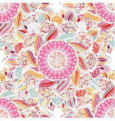 pink seamless floral mandala pattern vector image