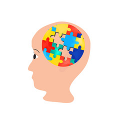 Puzzles in the brain head world autism day vector