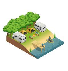 Recreational vehicles at lake isometric vector