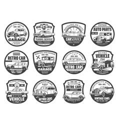 retro vehicles club vintage cars tuning service vector image