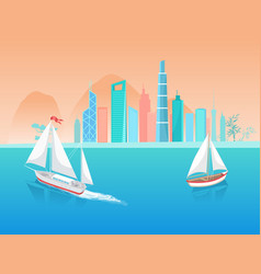 Sail boat with white canvas sailing in deep waters vector