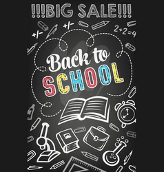 Sale offer banner of school supplies on blackboard vector