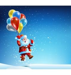 Santa Claus flies on a balloon vector