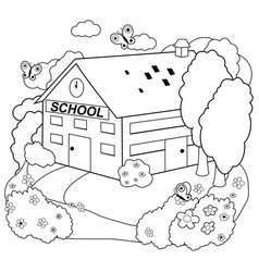 School building black and white coloring page vector