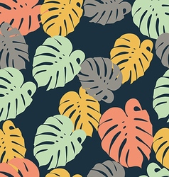 Seamless pattern of tropical yellow green leaves vector