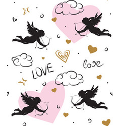seamless romantic pattern with cupids vector image